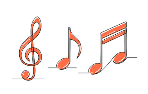 Set of continuous one line drawing of a musical notes.