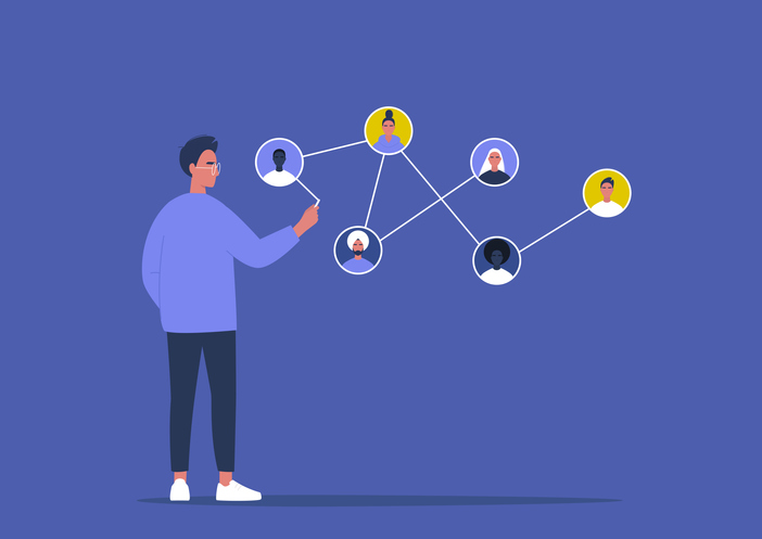 Networking concept, young male character connecting together different members of the system.