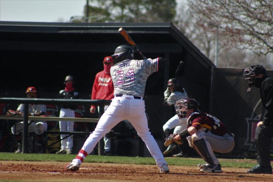 Senior first baseman Jordan Larson batting in an April 2 game against the Central Michigan University Chippewas at Ralph McKinzie Field.