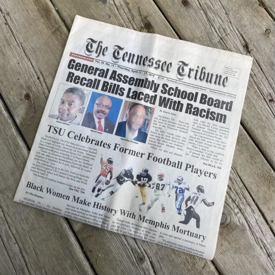 Headlines exhibited in the Tennessee Tribune for April 2019.