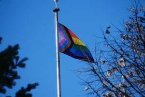 Progress LGBTQ+ Pride flag outside the Holmes Student Center in November 2020.