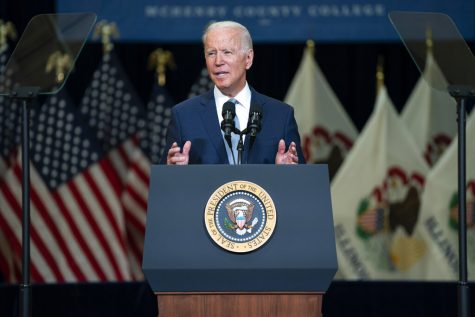 President Joe Biden delivers remarks on infrastructure spending at McHenry County College, Wednesday.