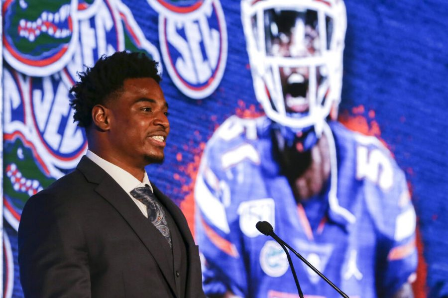 Floridas Ventrell Miller speaks to reporters during the NCAA college football Southeastern Conference Media Days Monday, July 19, 2021. Ventrell will be able to sign contracts with various sponsors and not be penalized by the NCAA.
