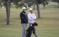 NIU Mens Head Coach John Carlson (left) seen here talking to junior Tommy Dunsire (right) discuss an approach shot during the first round of the 2021 Lamkin Grip San Diego Classic at San Diego Country Club.