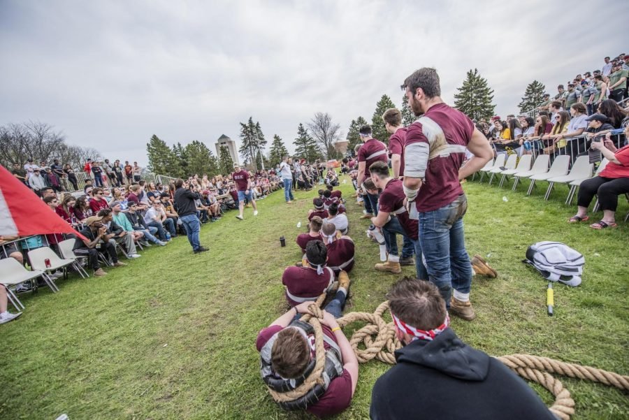 Sigma Nu and Phi Sigma Kappa fraternities face off in a game of Tug of War Greek lifes annual Tugs event in Spring of 2019.
