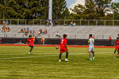 Redshirt junior forward Enrique Banuelos launches a free kick in the 72nd minute against Purdue Fort Wayne Aug. 26. The ensuing goal was the decider of a 1-0 victory.