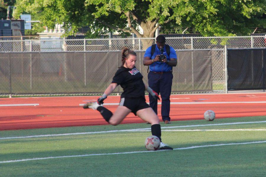 Senior goalkeeper Julia Lentz executes a goal kick during women