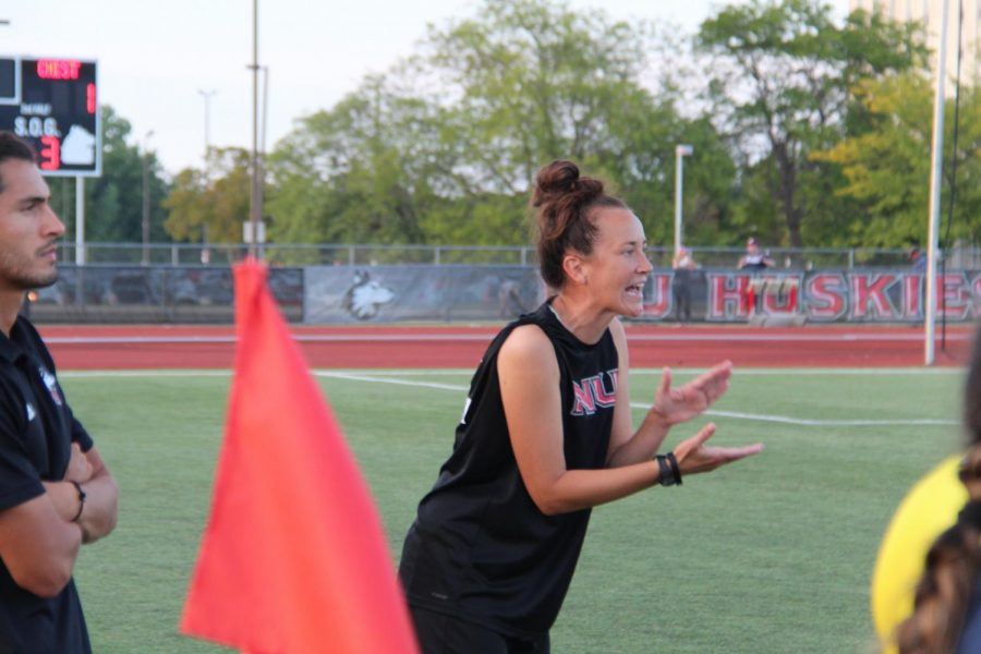 Women's soccer head coach Julie Colhoff on the sidelines of NIU's match Aug. 26 against Chicago State. The Huskies fall to 2-2 on the season after a loss to Eastern Kentucky.