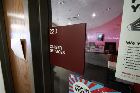 The door and sign leading into Career Services located in the Campus Life Building.