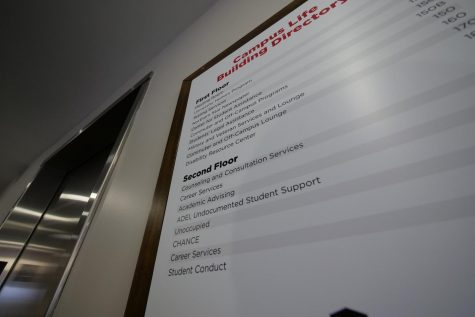 A sign of listings of student services in the campus Life Building.