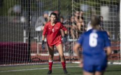 Junior goalkeeper Sadie McGill prepares for an attack in an Aug. 22 match in DeKalb against Indiana State.
