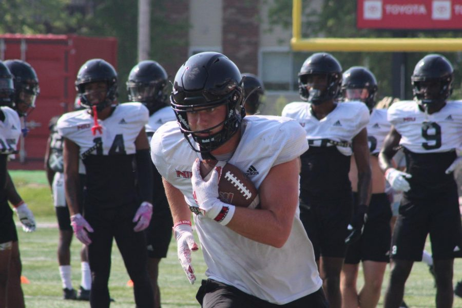 Redshirt junior wide reciever Cole Tucker runs after a catch in a Aug. 20 practice. Tucker had 13 catches for 136 yards in 2020.