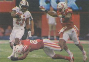 A photo of NIU running back Jordan Huff that ran in the Sept. 18, 2017 edition of the Northern Star after the Huskies beat the Nebraska Cornhuskers 21-17.
