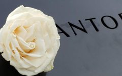 A white rose is placed in the lettering of a person who was killed at the World Trade Center to symbolize their birthday.
