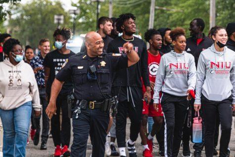 DeKalb Police Chief David Byrd walks with NIU students at Tuesdays Unity Walk.