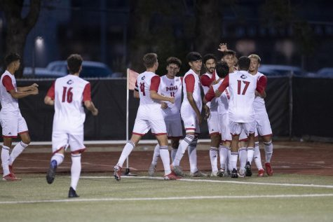 The NIU mens soccer team celebrates a goal in the first half of their 3-0 victory against the Marquette University Golden Eagles on Sept. 10 in DeKalb.
