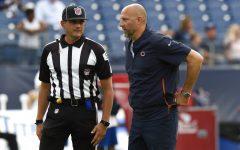 Chicago Bears head coach Matt Nagy talks with an official before a preseason NFL football game against the Tennessee Titans Saturday, Aug. 28, 2021, in Nashville, Tenn.