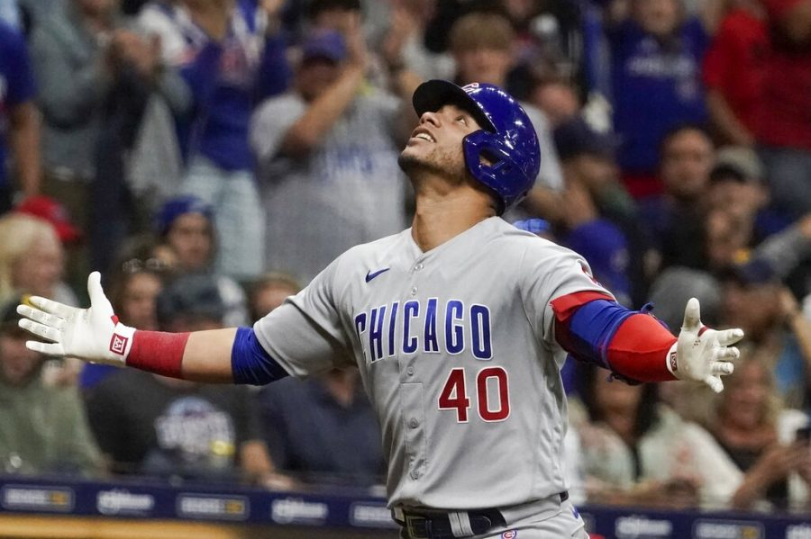 Chicago Cubs Willson Contreras reacts after hitting a home run during the seventh inning of a baseball game against the Milwaukee Brewers Saturday, Sept. 18, 2021, in Milwaukee.