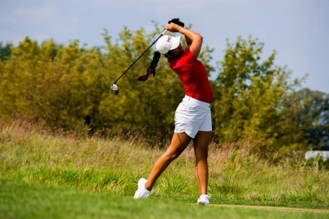 Junior Ahra Ko launches a ball during practice on Aug. 28. Ko finished tied for 16th at the Johnie Imes Invitational.