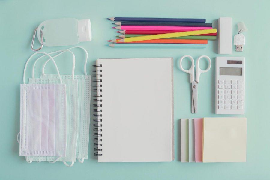 Assortment of school supplies.