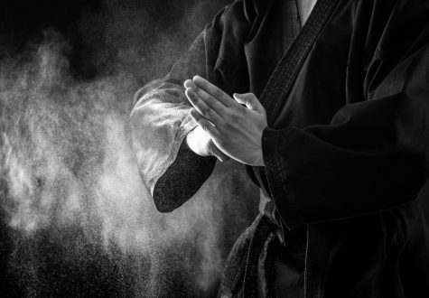 Closeup of male karate fighter hands.