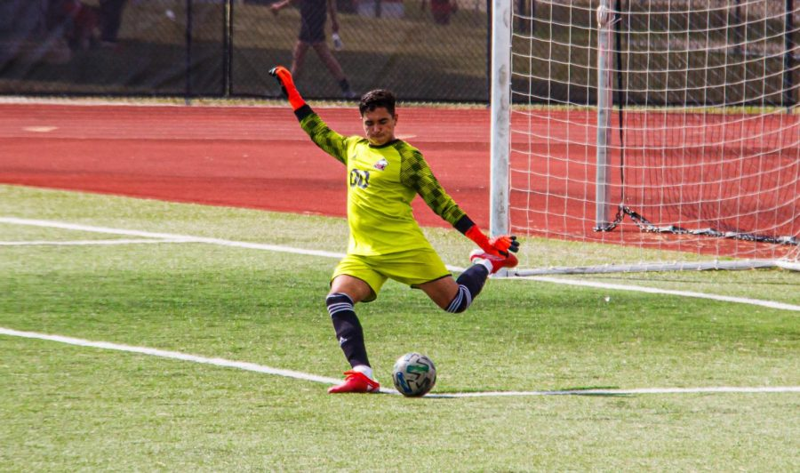 Redshirt junior goalkeeper Martin Sanchez lines up for a goal kick in NIUs match on Aug. 26 against Purdue-Fort Wayne. The Huskies havent allowed a goal in 501 minutes of play, or five complete games.