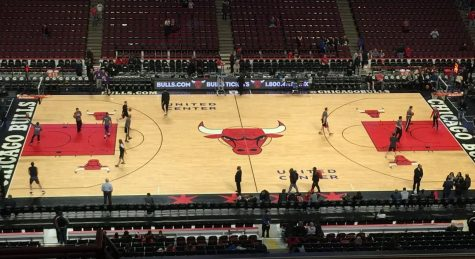 The scene pre-game on the United Center court.