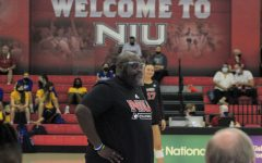 NIU Volleyball head coach Ray Gooden watches on during NIU's game against Western Illinois on Aug. 27 at Victor E. Court. The Huskies sit at 2-2 heading into a home matchup with EIU on Saturday.