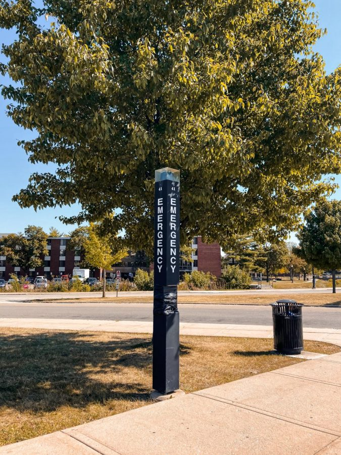 NIU Police emergency call boxes are located at many locations on campus so students can have immediate contact with the police.