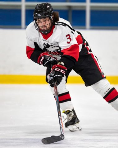 Junior defenseman Drake Gieseke handles the puck during NIUs Sept. 24 game against Purdue Northwest. The two losses to the Pride put NIU at 0-4 to start the season.