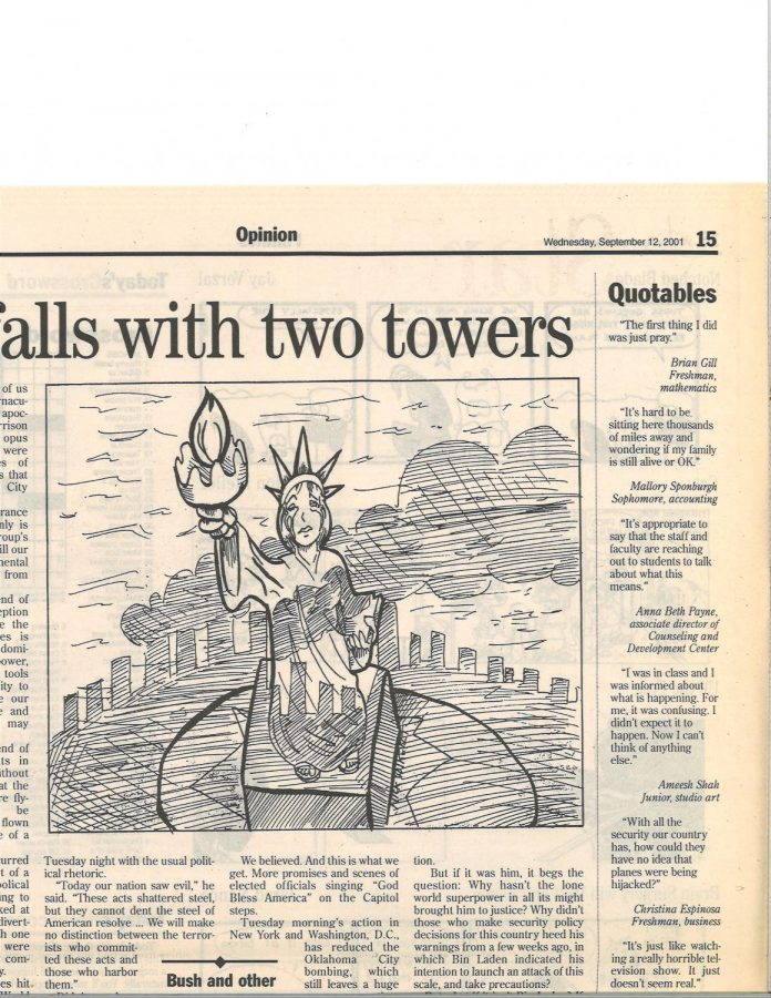 A political cartoon of the Statue of Liberty and the New York City skyline was created for the Sept. 12, 2001 print edition of the Northern Star. The art represents the collective feelings of heartbreak and confussion felt by the Northern Star staff and country during and in the aftermath of the attacks 20 years ago.