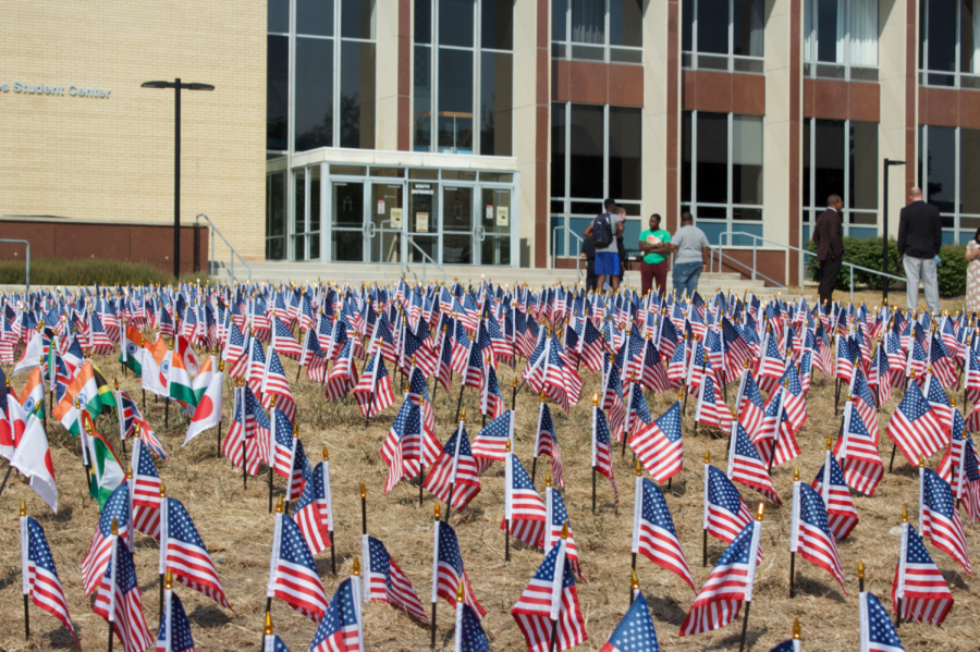3,000 flags posted outside of the Holmes Student Center represent the lives lost on 9/11.