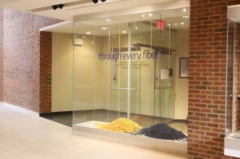"""Entrance of the """"Through Every Fiber"""" exhibit at the Pick Museum of Anthropology."""