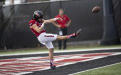 Redshirt senior punter Matt Ference practicing before kickoff on Sept. 11 at Huskie Stadium. Ference has played in 52 games since arriving at NIU in 2017.