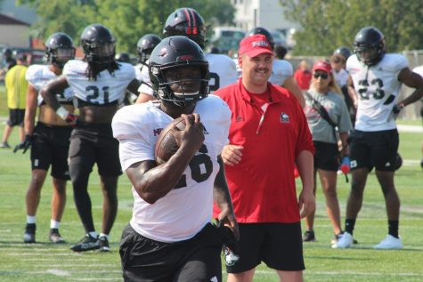 Freshman running back Antario Brown during a practice during the offseason. Brown rushed for 93 yards against Toledo on Oct. 9.