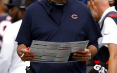 Chicago Bears head coach Matt Nagy looks for a play during an NFL football game against the Cleveland Browns, Sunday, Sept. 26, 2021, in Cleveland. (AP Photo/Kirk Irwin)