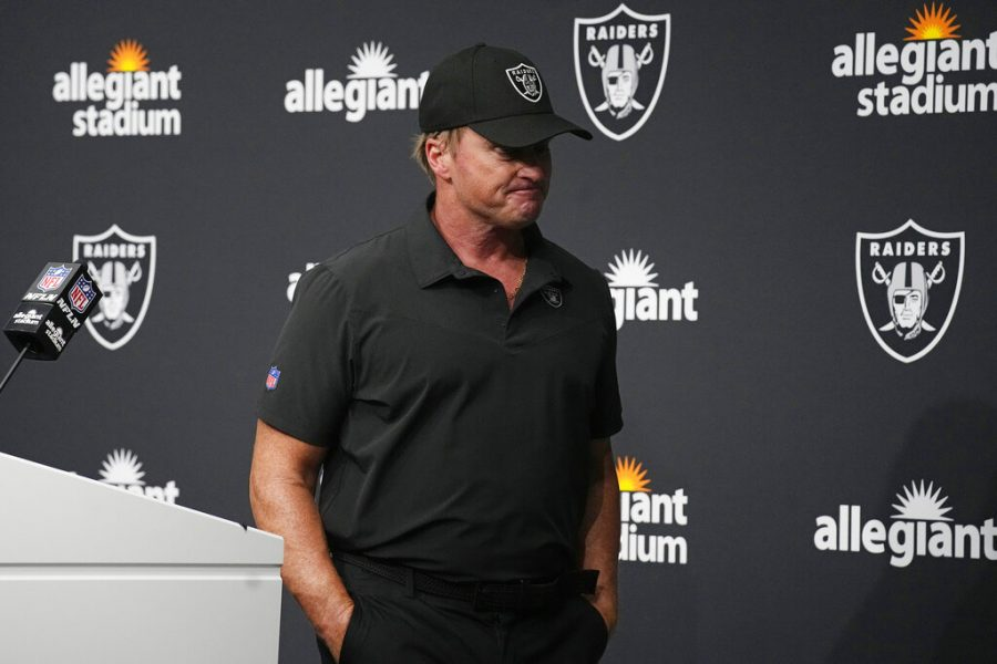 Las Vegas Raiders head coach Jon Gruden leaves after speaking during a news conference after an NFL football game against the Chicago Bears in Las Vegas, in this Sunday, Oct. 10, 2021, file photo. The Northern Star Editorial Board believes his former employer, ESPN, repeatedly failed to recognize the severity of his hate speech and were too quick to move on from discussing it.