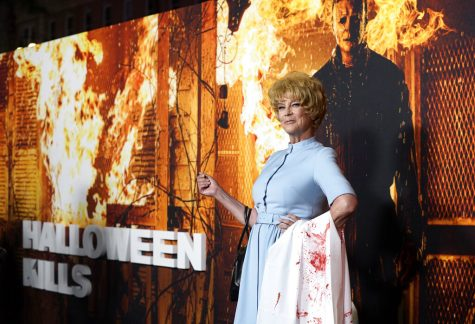 Jamie Lee Curtis, star and executive producer of Halloween Kills, poses at the premiere of the film, Tuesday, Oct. 12, 2021, at the TCL Chinese Theatre in Los Angeles.