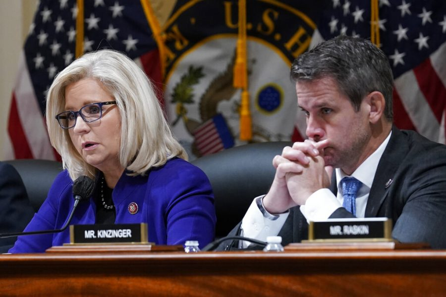 Rep. Liz Cheney (R-Wyo.), and Rep. Adam Kinzinger (R-IL.), listen as the House select committee tasked with investigating the Jan. 6 attack on the U.S. Capitol on Capitol Hill in Washington, Tuesday, Oct. 19, 2021. Kinzinger whos been outspoken against the former President faces a possible primary and general election battle if he hopes to return to Congress in 2022.