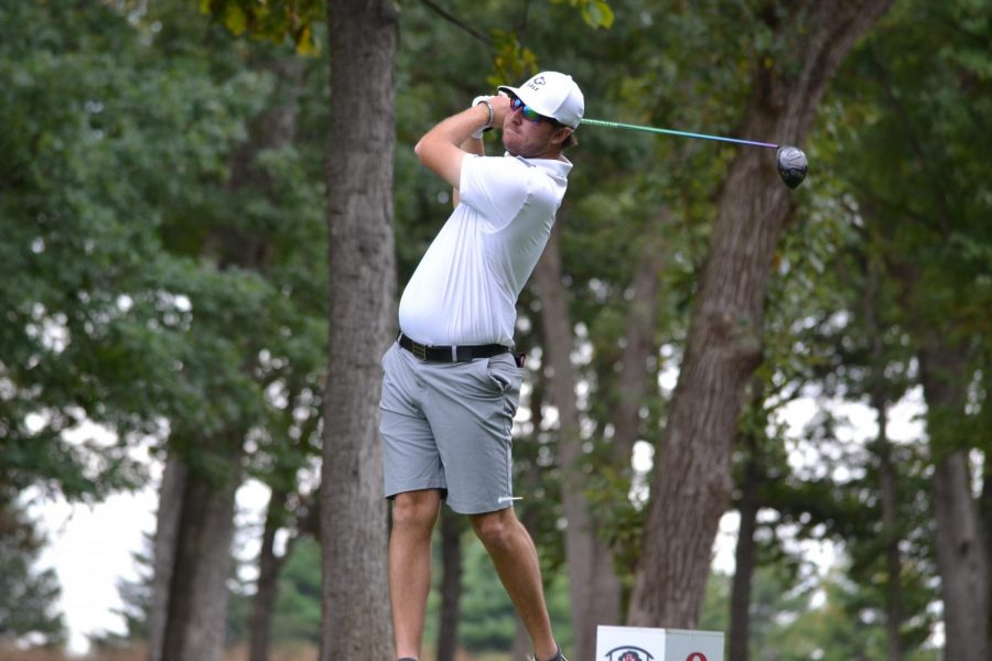 Senior Reece Nilsen practices at Rich Harvest Farms on Aug. 28. Nilsen gained his second top 10 finish of the year with a win at the Xavier Invitational.