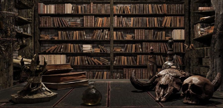 A gothic room full of books and trinkets.