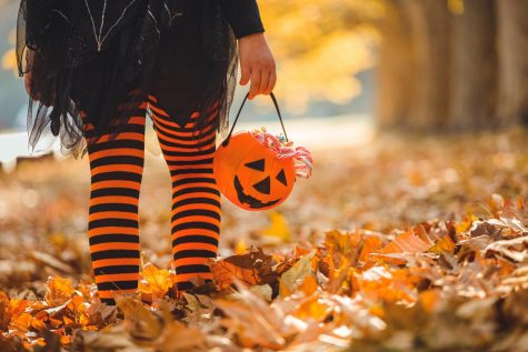 Little girl in witch costume having fun outdoors on Halloween trick or treat.