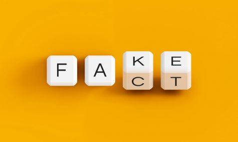 Letter tiles reading fake or fact.