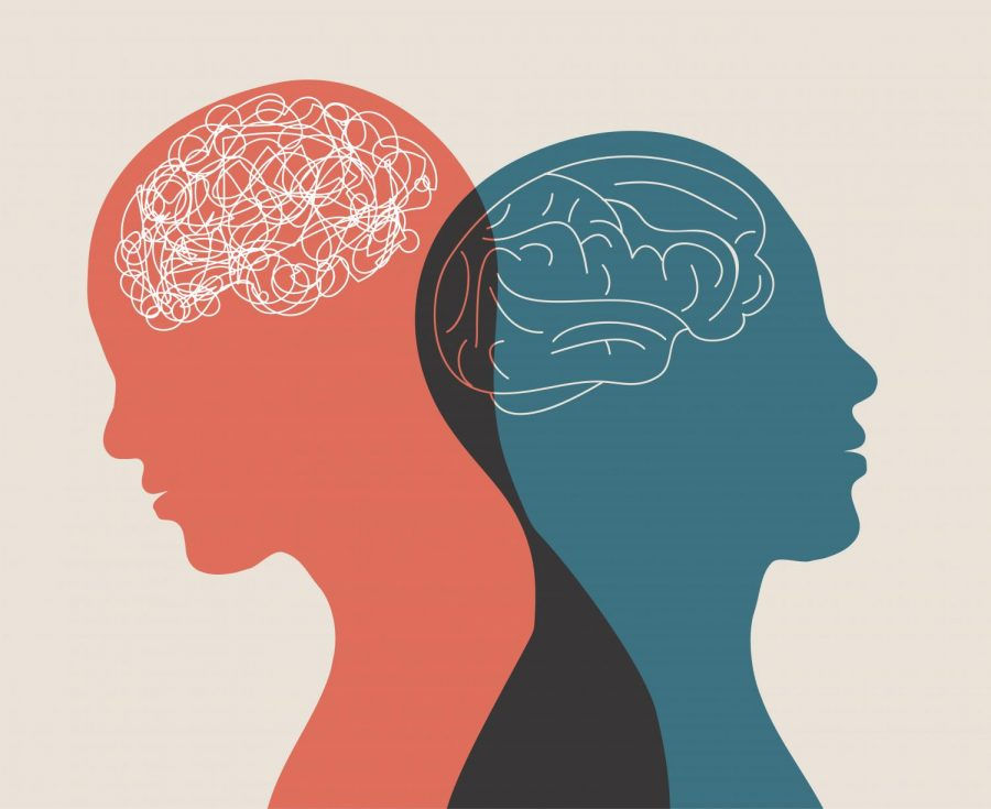 Two people. One with a clear mind and the other with a scattered mind.