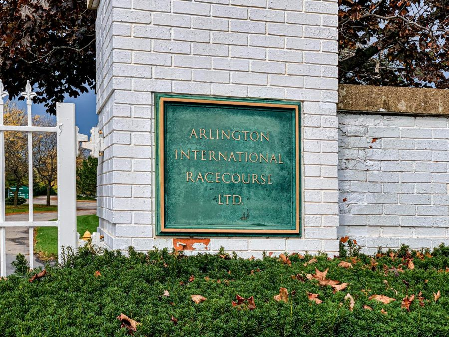 A sign marking the entrance to the Arlington International Racecourse in Arlington Heights. The Chicago Bears purchased the property for nearly $200 million.