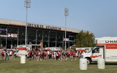 Fans tailgate before the NIU-Wyoming football game at Huskie Stadium on Sept. 11.