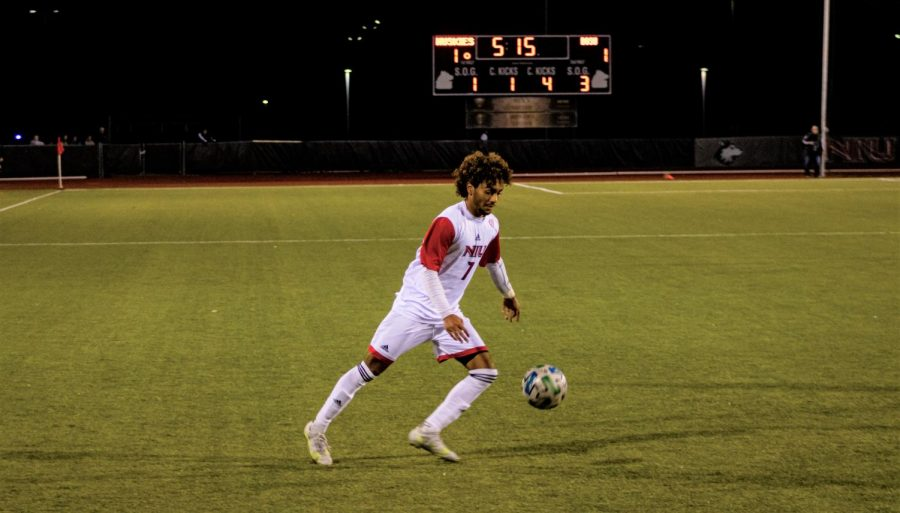 Freshman forward Zachariah Thomas plays the ball in the first half against Bowling Green on Oct. 16. Thomas scored NIUs lone goal in a 1-1 tie.