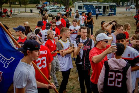 Greek community around campus actively involved during all home football games through fall 2021. Greek life helped students and families celebrate ahead of the victory for NIU in the game against Eastern Michigan game on Saturday Oct 2.