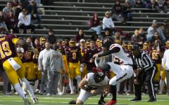 Freshman kicker Kanon Woodill kicks a field goal against CMU on Oct. 23. Woodill, starting in his first career game on short notice, went three-for-three and made the game winning field goal with NIUs 39-38 win.