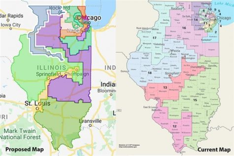 The 2020 proposed congressional district map (left) has redrawn Illinois 18 House districts into an updated 17. Members of the Assembly and State Senate are set to hold hearings on the proposal this week.